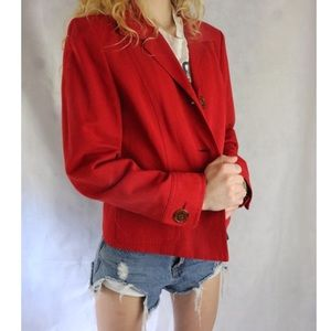 LIKE NEW Talbots Red Fitted Button Up Blazer